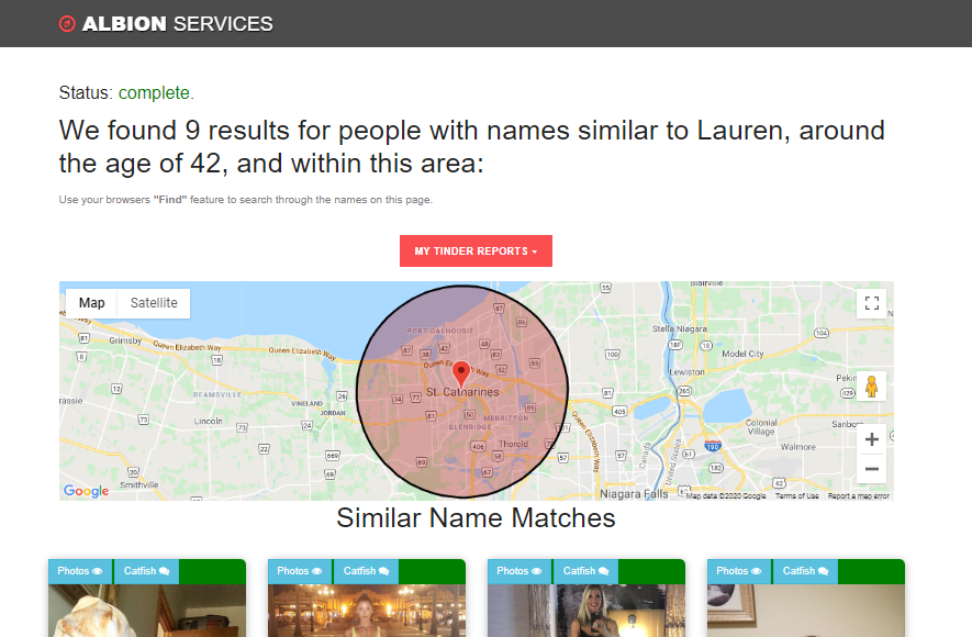 Tinder search report example